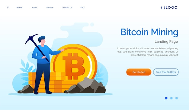 Bitcoin cryptocurrency mining landingpage website illustration