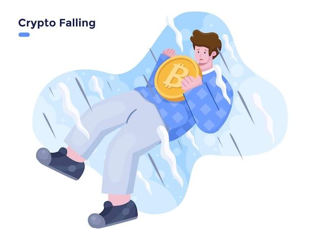 Bitcoin, das flache vektorillustration herunterfällt krypto-absturz und -zusammenbruch-illustrationskonzept person mit krypto-münze bringen und herunterfallen