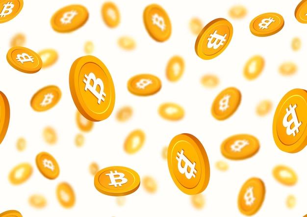 Bitcoin der goldenen münzen, die nahtloses muster herunterfallen