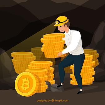 Bitcoin design mit bergarbeiter