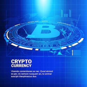 Bitcoin-diagramme auf blauer weltkarten-hintergrund-krypto-währungshandels-konzept-daten infographic-fahne