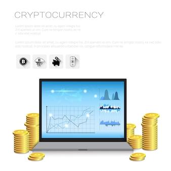 Bitcoin-diagramme auf laptop-computer krypto-währungsverkaufs-statistik-netz-geld-e-commerce-konzept