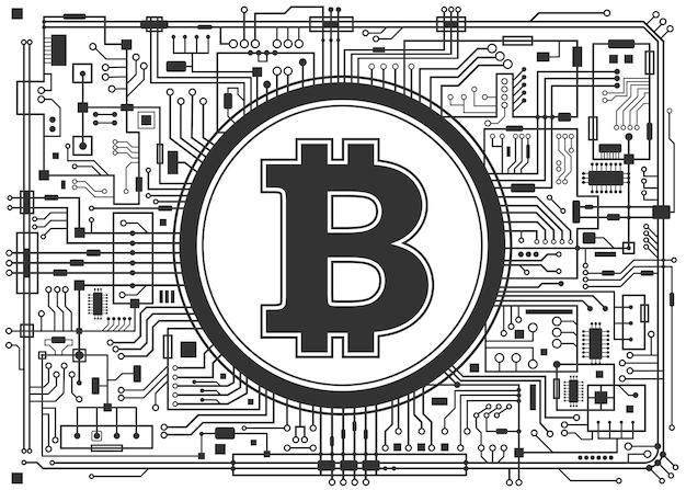 Bitcoin digitale währung hintergrund isoliert auf weiss. futuristisches chipsatz-technologiekonzept. horizontale schwarzweiss-illustration des vektors.