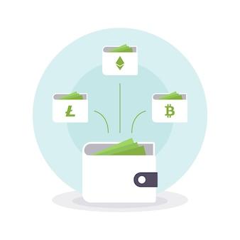 Bitcoin ethereum litecoin kryptowährungs-wallets. online-wallet-symbol. vektorillustration eps10