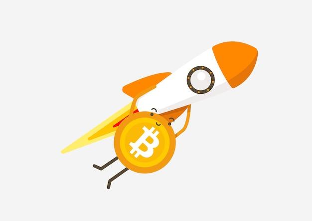 Bitcoin fliegt mit einer fliegenden rakete zum mond. kryptowährung-cartoon-konzept.
