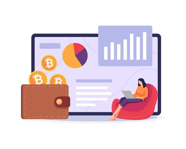 Bitcoin-geldbörse illustration zahlungsmethode mit digitalem geld frau sitzt auf der couch mit laptop