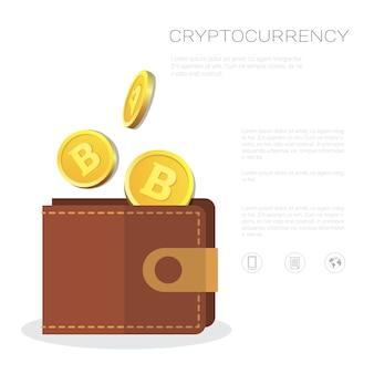 Bitcoin-geldbörse mit goldener münzen-ikonen-krypto-währungs-bergbau und handelskonzept