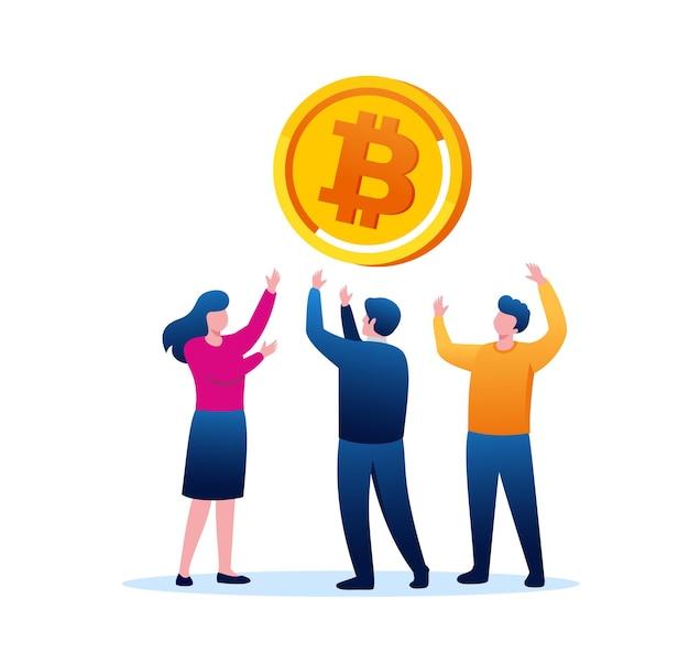 Bitcoin-gewinn flache vektor-illustration-banner-vorlage