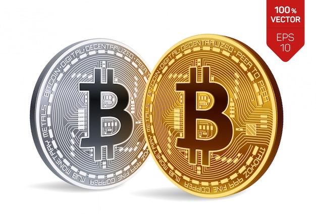 Bitcoin. goldene und silbermünzen mit bitcoin symbol in den händen