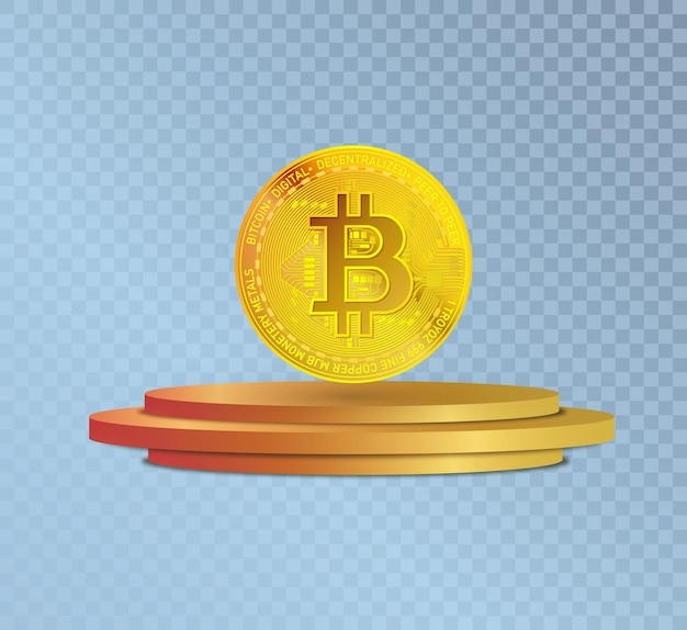 Bitcoin goldmünzensymbol in kryptowährung auf dem podium