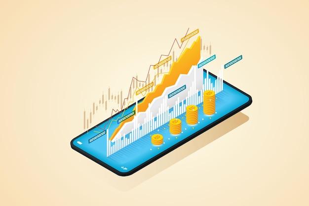Bitcoin-handel auf mobiltelefon-smartphone mit online-kryptowährung für investitionen