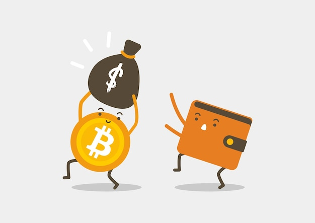 Bitcoin hat geld aus wallet gestohlen. kryptowährung-cartoon-konzept.
