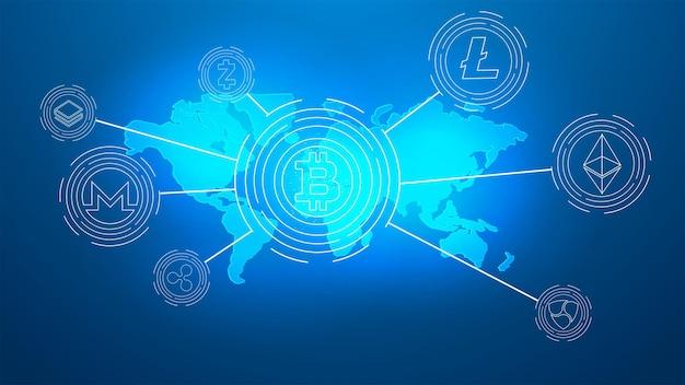 Bitcoin illustration zur vereinheitlichung aller kryptowährungen, illustration zur gründung des kryptowährungsrates. symbole der wichtigsten kryptowährungen.