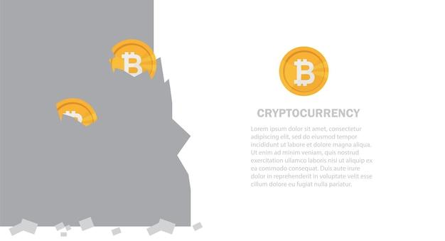 Bitcoin in rock abbauen. extraktion kryptowährung. virtuelles geld. vektor-illustration