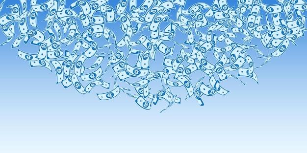Bitcoin, internet-banknoten fallen. schwimmende btc-scheine auf hintergrund des blauen himmels. kryptowährung, digitales geld. verführerische vektorillustration. perfektes jackpot-, reichtums- oder erfolgskonzept.