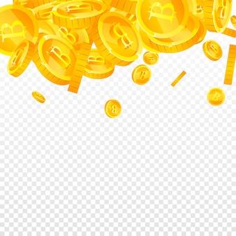 Bitcoin, internet-währungsmünzen fallen. exotische verstreute btc-münzen. kryptowährung, digitales geld. grand jackpot, reichtum oder erfolgskonzept. vektor-illustration.