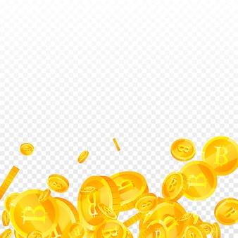 Bitcoin, internet-währungsmünzen fallen. exquisite verstreute btc-münzen. kryptowährung, digitales geld. ekstatischer jackpot, reichtum oder erfolgskonzept. vektor-illustration.