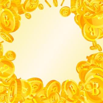 Bitcoin, internet-währungsmünzen fallen. fantastische verstreute btc-münzen. kryptowährung, digitales geld. bezauberndes jackpot-, reichtums- oder erfolgskonzept. vektor-illustration.