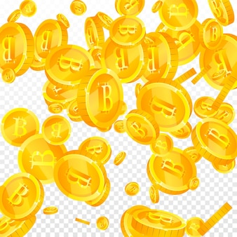 Bitcoin, internet-währungsmünzen fallen. göttliche verstreute btc-münzen. kryptowährung, digitales geld. schönes jackpot-, reichtums- oder erfolgskonzept. vektor-illustration.