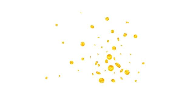 Bitcoin, internet-währungsmünzen fallen. makellose verstreute btc-münzen. kryptowährung, digitales geld. lebendiges jackpot-, reichtums- oder erfolgskonzept. vektor-illustration.