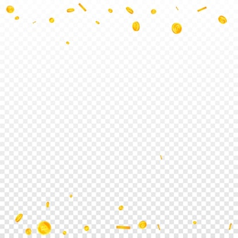 Bitcoin, internet-währungsmünzen fallen. tatsächliche verstreute btc-münzen. kryptowährung, digitales geld. künstlerischer jackpot, reichtum oder erfolgskonzept. vektor-illustration.