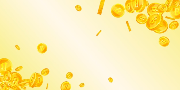 Bitcoin, internet-währungsmünzen fallen. verstreute btc-münzen holen. kryptowährung, digitales geld. faires jackpot-, reichtums- oder erfolgskonzept. vektor-illustration.