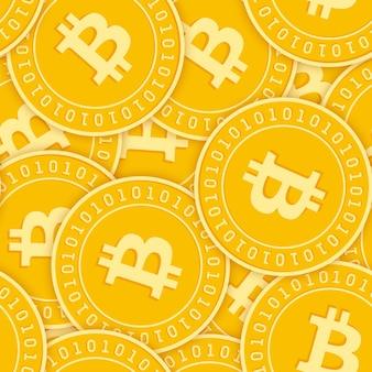 Bitcoin, internetwährung münzen nahtloses muster. herrliche verstreute btc-münzen. großer gewinn oder erfolg