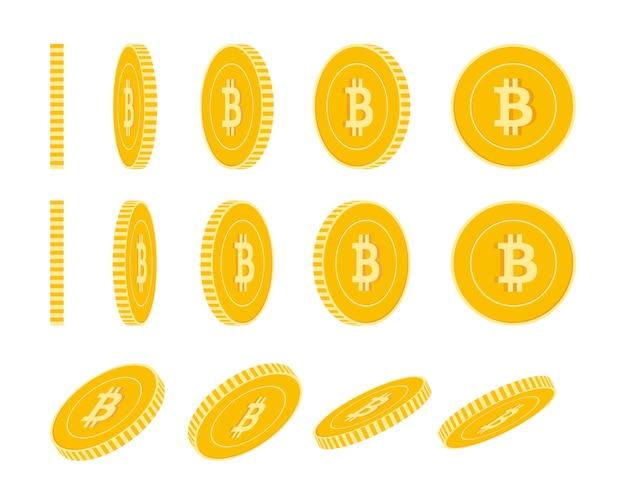 Bitcoin, internetwährungsmünzensatz, animation fertig. rotation der gelben btc-münzen. kryptowährung