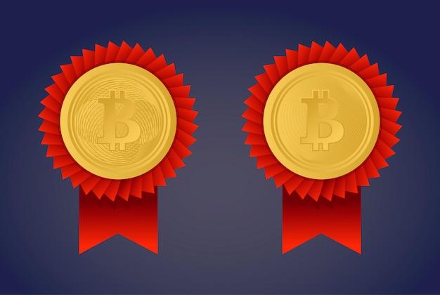 Bitcoin ist golden. münzen auf violettem hintergrund