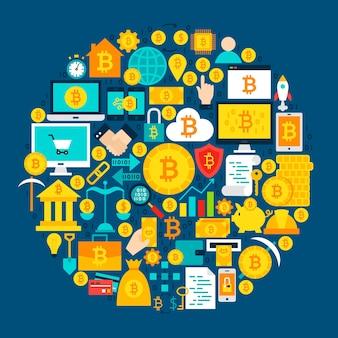 Bitcoin-kreis-konzept. vektor-illustration von flachen objekten der kryptowährung.