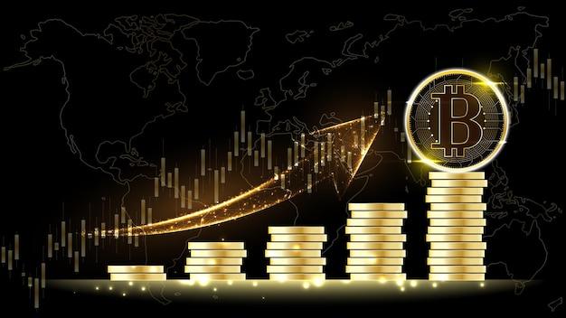Bitcoin-kryptowährung digitales geld mit einem haufen münzen netzwerktechnologie-hintergrund