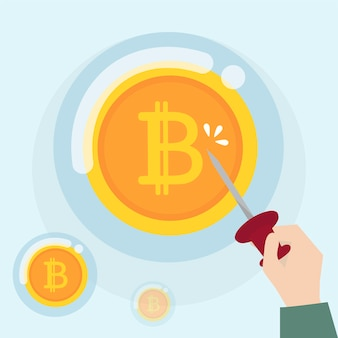 Bitcoin-kryptowährung in einem blasenstatus