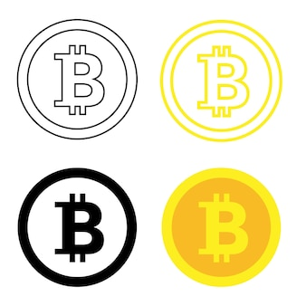 Bitcoin. kryptowährungsmünzensymbol. münze im flachen und im umrissstil. bearbeitbar. kaltes bitcoin-symbol. vektor-illustration isoliert auf weißem hintergrund