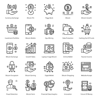 Bitcoin line icons pack
