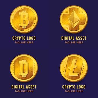 Bitcoin-logo-vorlagensammlung mit farbverlauf