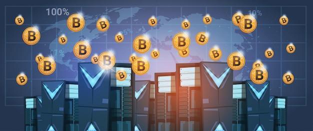 Bitcoin mining farm rechenzentrum über weltkarte digitale krypto-währung modernes web-geld