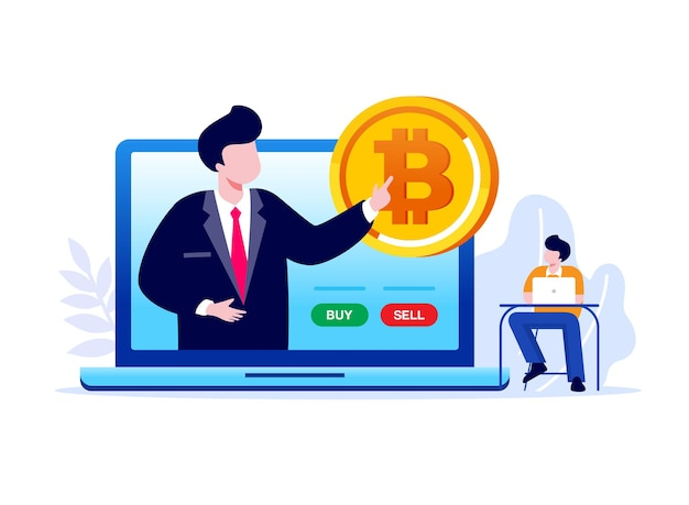 Bitcoin-mining-flache vektor-illustration-banner-vorlage