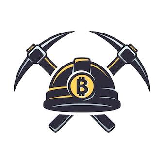 Bitcoin-mining-logo Premium Vektoren