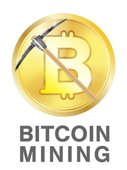 Bitcoin mining mit spitzhacke auf goldenem bitcoin logo