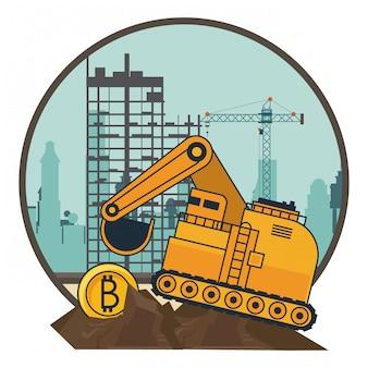 Bitcoin mining und bagger maschinenfahrzeug
