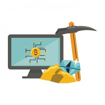 Bitcoin-mining vom computer und auswahlwerkzeug