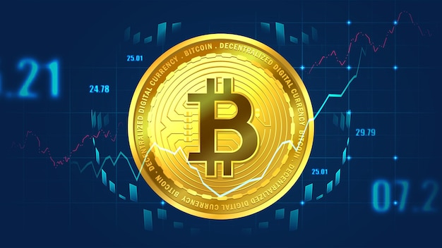 Bitcoin mit indikatoren im futuristischen konzept