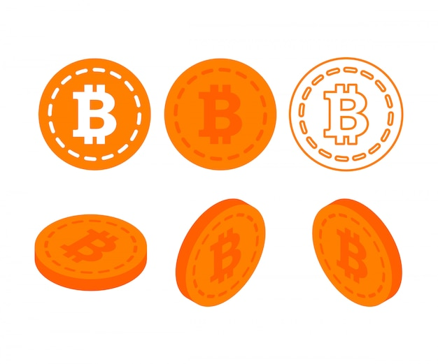 Bitcoin. physisches stückchen münze. digitale währung