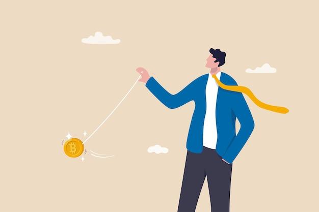 Bitcoin-preisschwankungen wie jojo, kryptowährungsrisiko oder -volatilität, händlerkontrolle und -manipulierung des preiskonzepts, intelligenter geschäftsmann, investor oder händler werfen bitcoin-jojo.
