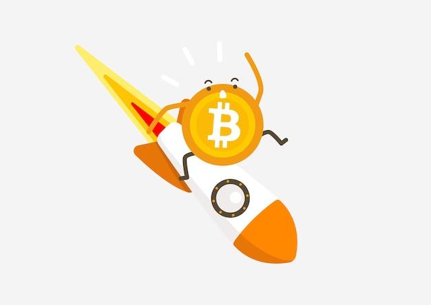 Bitcoin-rakete, die herunterfällt. kryptowährung-cartoon-konzept.