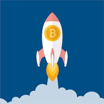 Bitcoin-ratenwachstumskonzept wie raketen