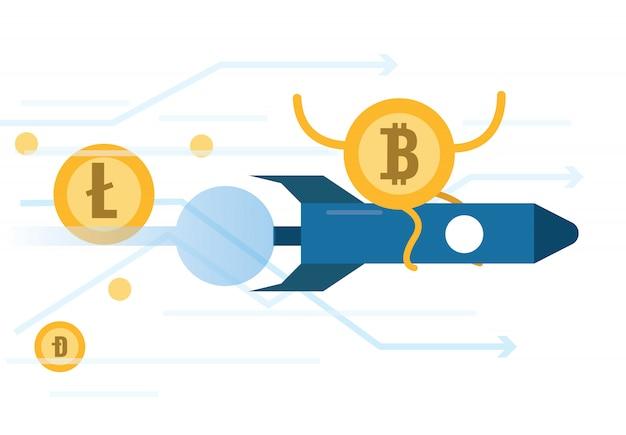 Bitcoin reitende rakete bewegt sich schneller