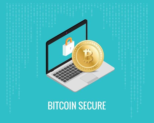 Bitcoin sichere illustration mit laptop- und verschlussikone