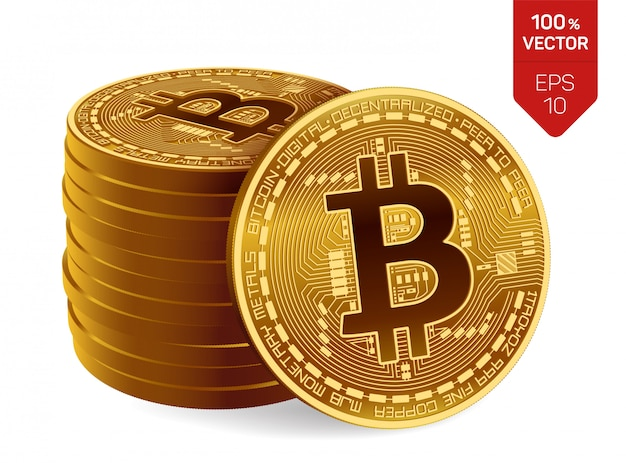 Bitcoin. stapel goldene münzen mit dem bitcoin symbol getrennt auf weißem hintergrund.