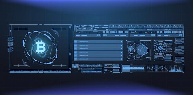 Bitcoin technologie abstrakte visualisierung. futuristisches ästhetisches design. bitcoin-symbol mit hud-elementen. futuristische benutzeroberflächenelemente für web und app.